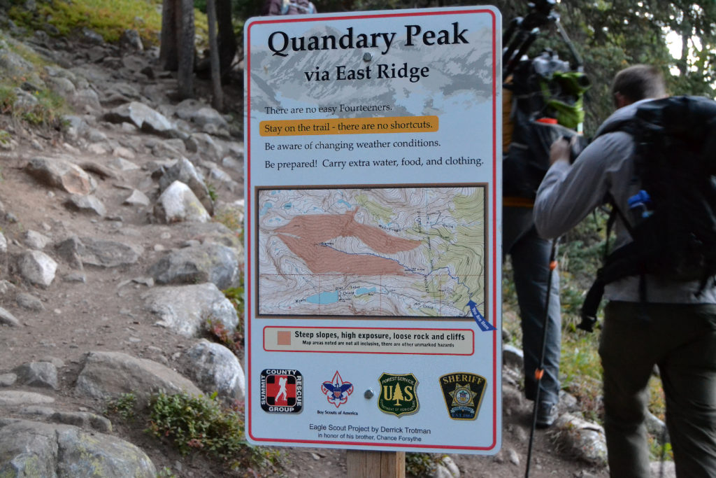 quandary peak sign, there are no easy 14ers, stenbakken media